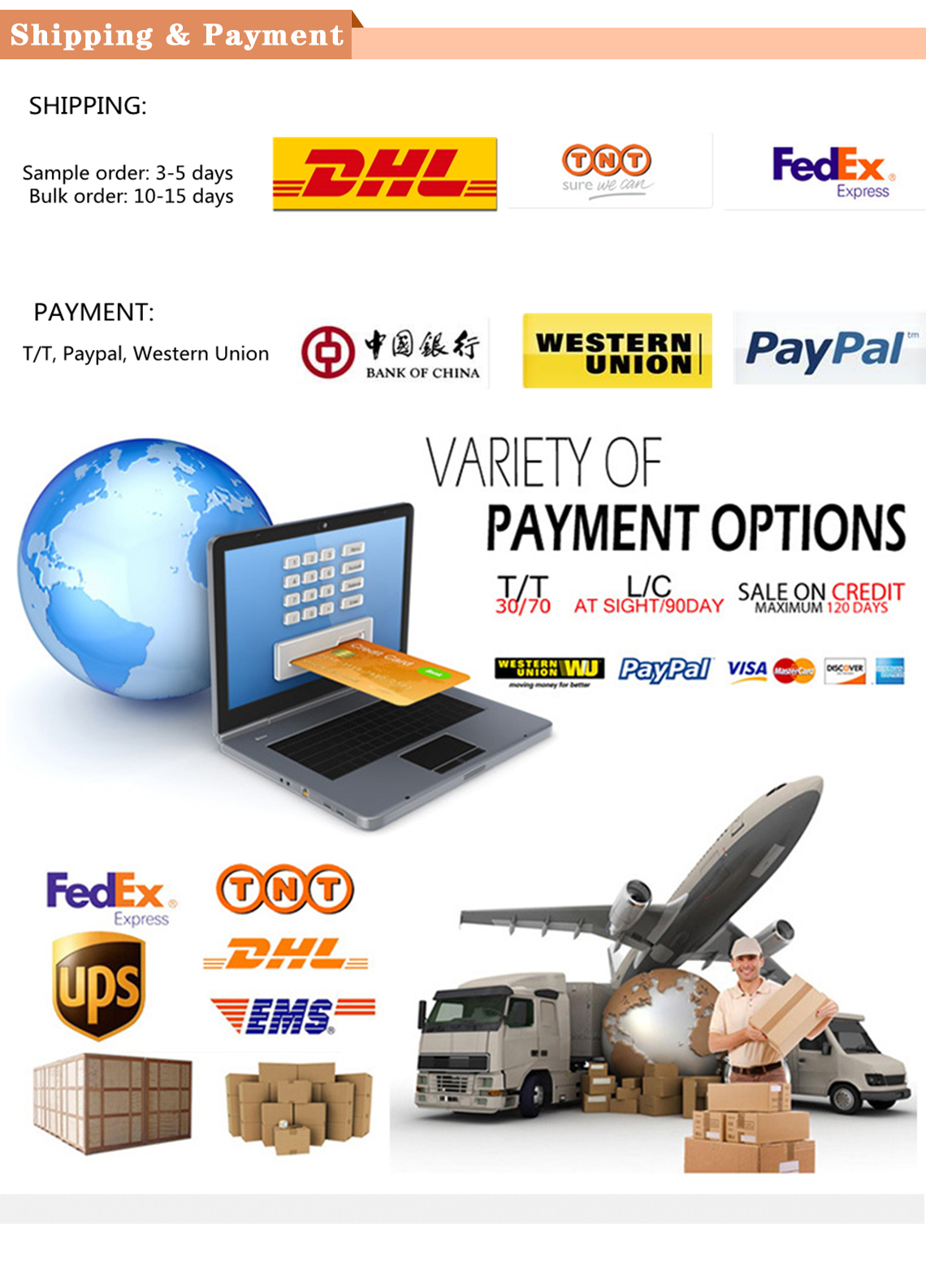 payment and shipping shows