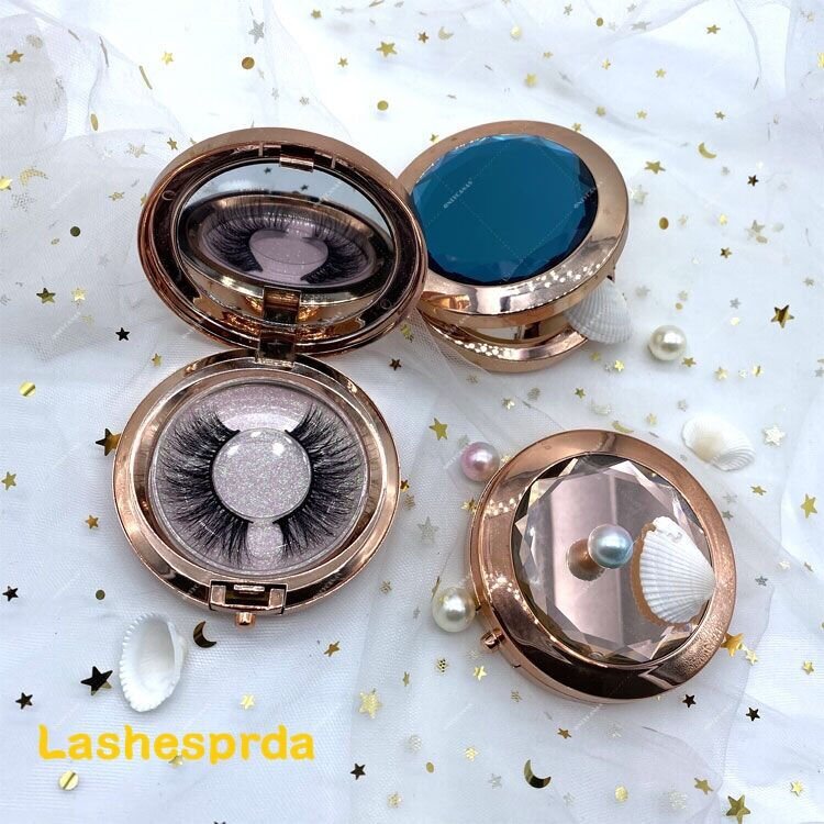 luxury round lash box packaging with mirror