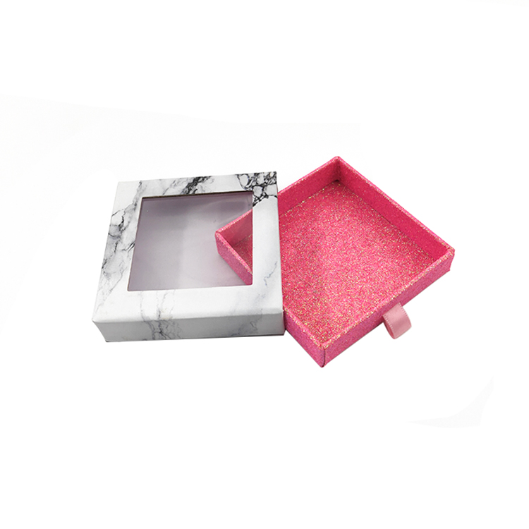 Marble and pink glitter Square drawer Cardboard eyelash box With Window ,create your own eyelash packaging