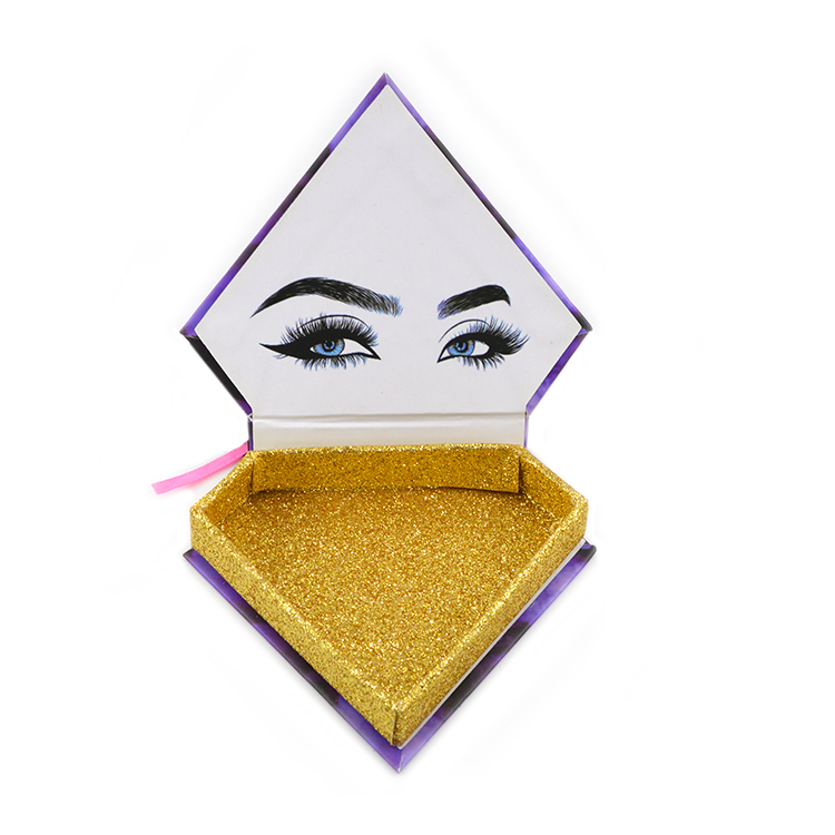 Purple Quicksand Diamond magnetic Cardboard eyelash package, custom lash boxes with logo