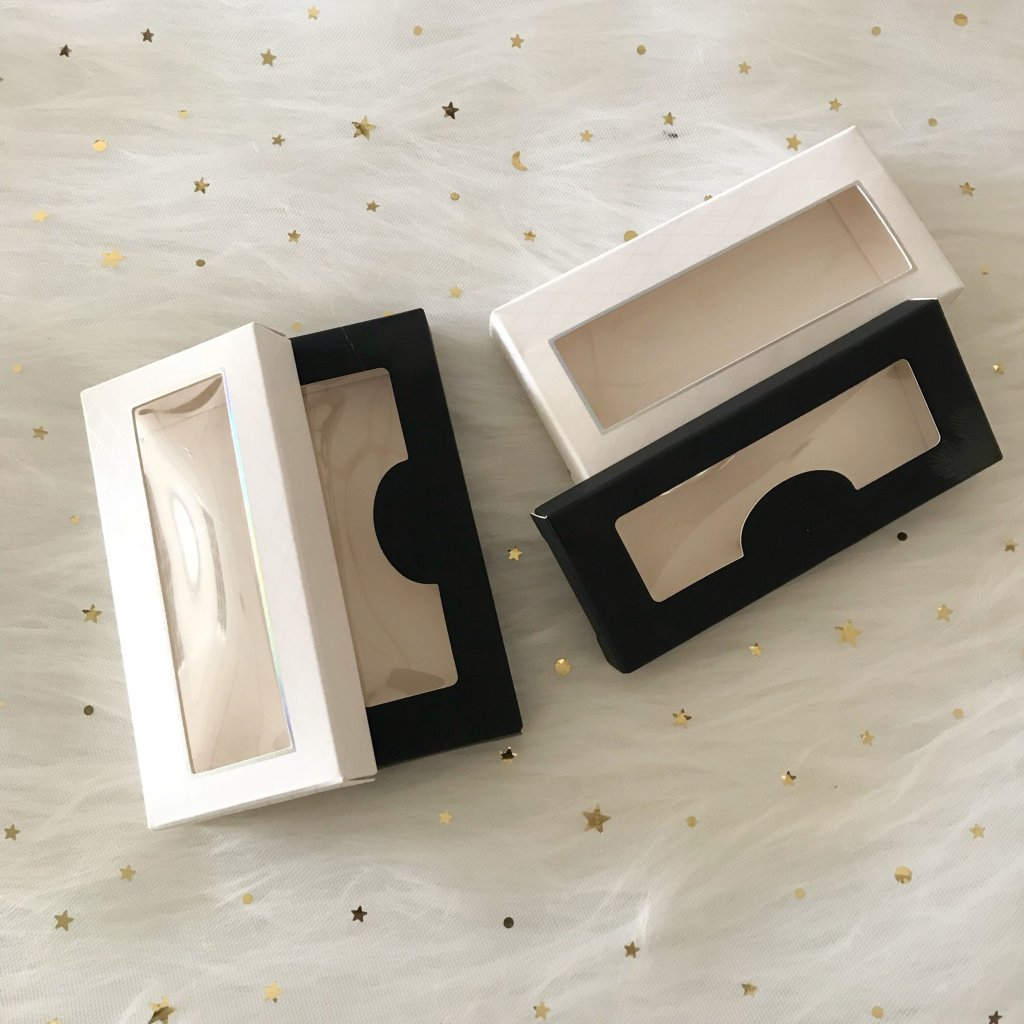 Simple white and black Rectangular Cardboard eyelash packaging box custom With special-shaped Window