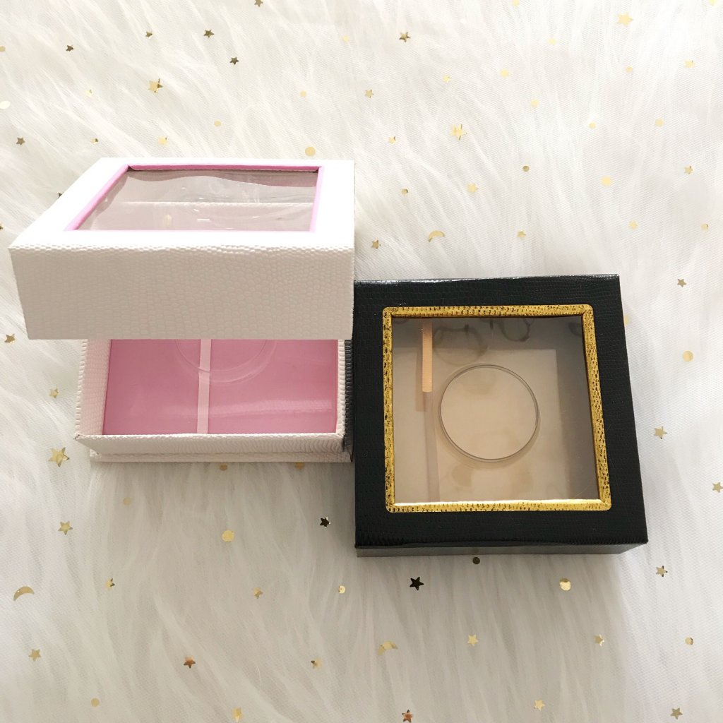 White lizards texture Square magnetic Cardboard eyelash packaging box With Window