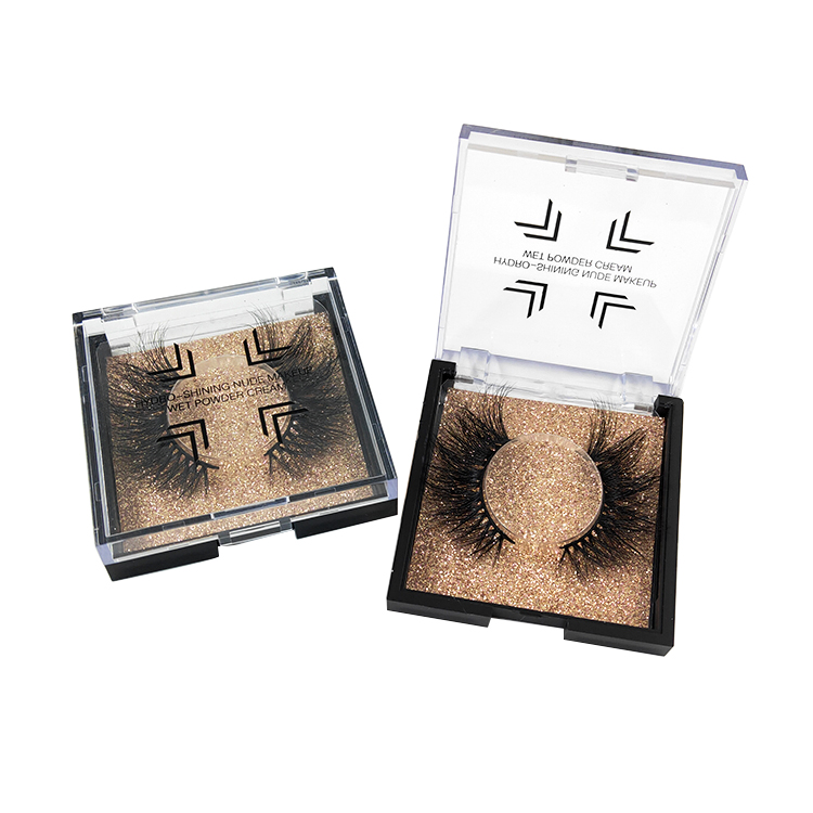 black normal printing Square Flip Top Acrylic eyelash package With clear PVC Window , cheap acrylic lash packaging