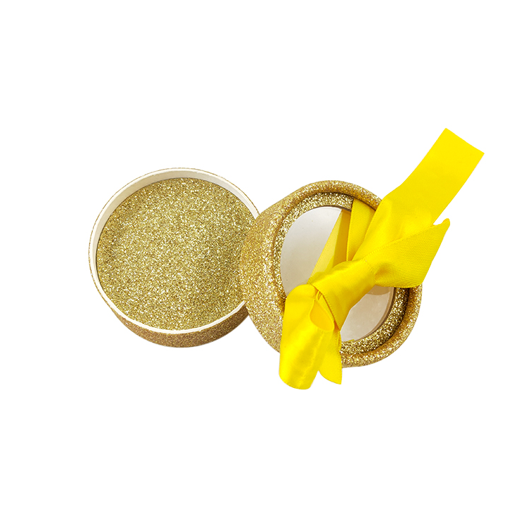 gold glitter specialty paper Round Cardboard eyelash packaging with ribbon    63x63x33 , 18.3g