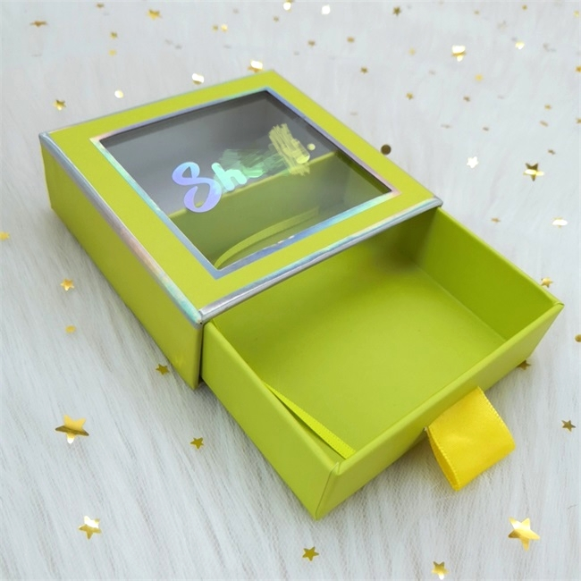 green Cardboard  drawer Cartoon Characters  Square eyelash box With  Window