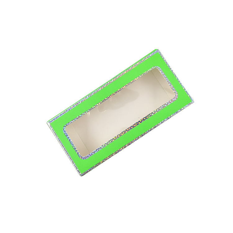 Green glitter Rectangular paper individualized lash packaging box china