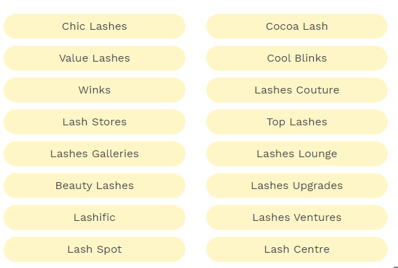lash business name ideas