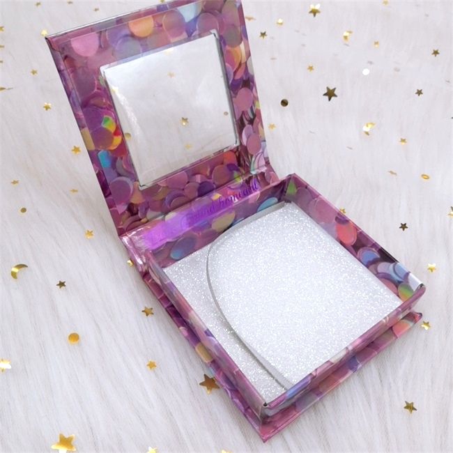 pink magnetic Cardboard Square eyelash box With Window