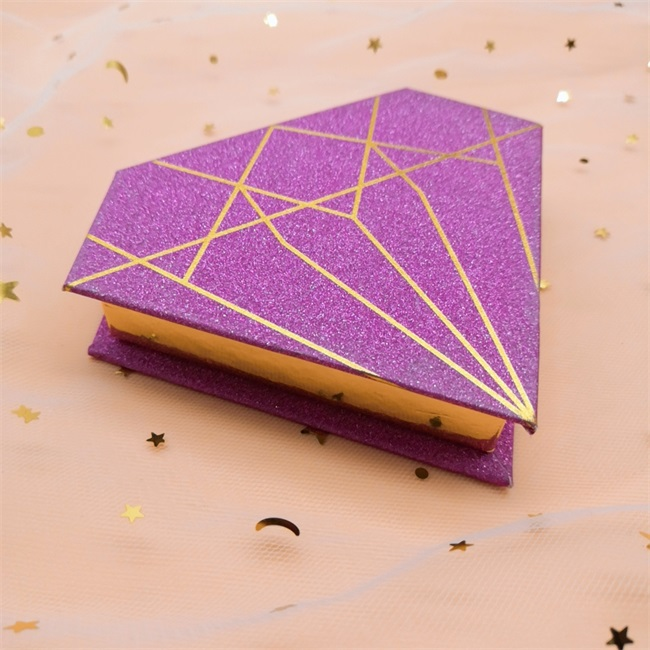 purple diamond polygon create your own eyelash packaging