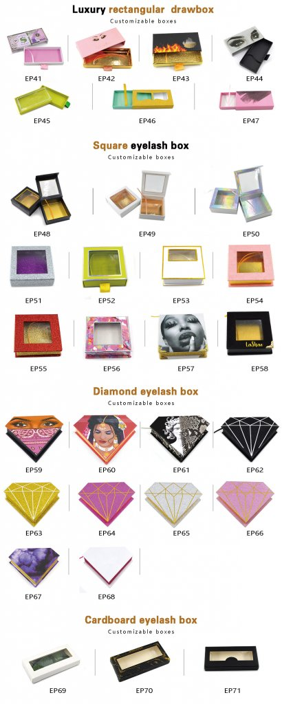 Custom rectangular eyelash packaging box for lash business with private label