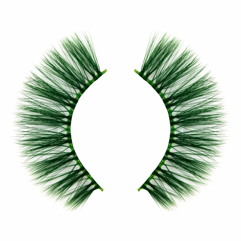 Best green color eyelashes with clear band wholesale